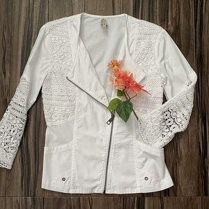 XCVI cotton jacket w/ open knit sleeves, white